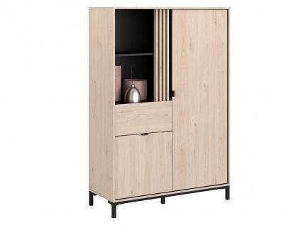 Vitrinenschrank RISLANE - 2 Türen, 1 Schublade & 2 Ablagen - Eiche & Schwarz - Vorschau 3