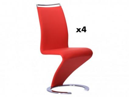 Stuhl Freischwinger 4er-Set Twizy - Rot