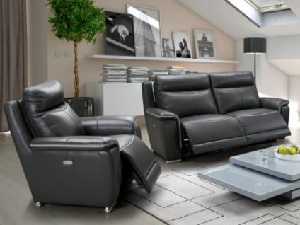 Couchgarnitur Relax Leder Paosa 3+1 - Anthrazit mit hellgrauer Ziernaht