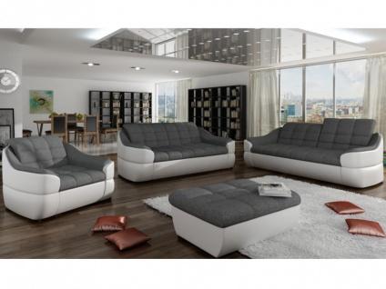 Couchgarnitur Stoff 3+2+1 Farez - Weiß&Grau