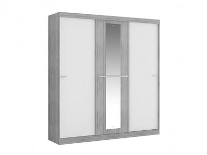 Kleiderschrank DIDDA - 3 Schiebetüren - Grau & Weiß - Vorschau 4
