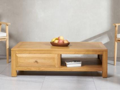 Couchtisch Holz SUMBA - 2 Schubladen & 1 Ablage