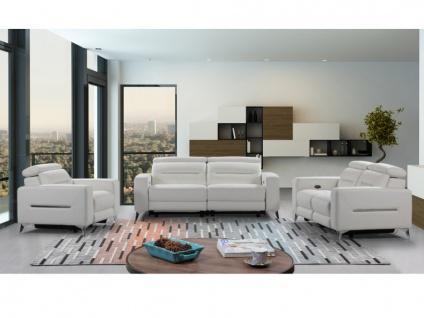 Relaxgarnitur elektrisch 3+2+1 PAULY - Leder - Weiß