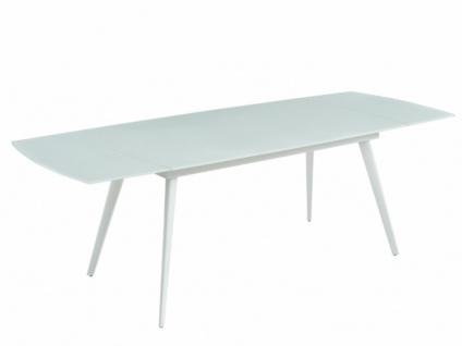 Esstisch ausziehbar AJIM - Glas & Metall - Weiß