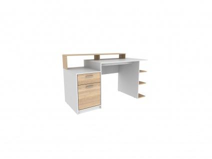 Schreibtisch mit Stauraum ZACHARIAS III - Weiß & Eichefarben