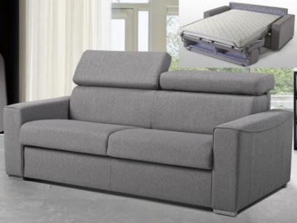 Schlafsofa 3-Sitzer Stoff VIZIR - Grau - Liegefläche: 140 cm - Matratzenhöhe: 14cm