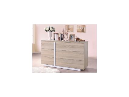 Kommode NAPOLI - 6 Schubladen - Weiß & Eichenholzfarben