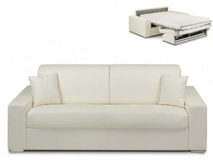 Schlafsofa 4-Sitzer EMIR - Weiß - Liegefläche: 160cm - Matratzenhöhe: 14cm