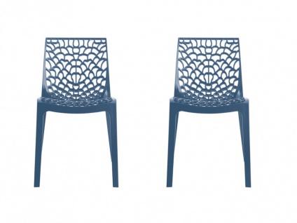 Stuhl 2er-Set stapelbar Diadem - Kunststoff - Blau