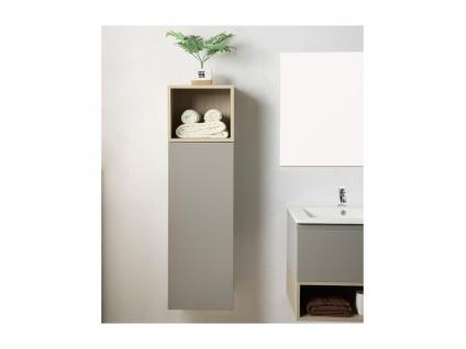 Komplettbad KLADE - Unterschrank + Waschbecken + Spiegel + Regal - Taupe lackiert - Vorschau 4