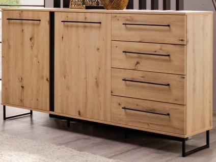 Sideboard PHILADELPHIE - 2 Türen & 4 Schubladen - Eichenholzfarben