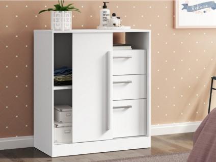 Kommode DEVY - 1 Ablage, 1 Tür & 3 Schubladen - Weiß