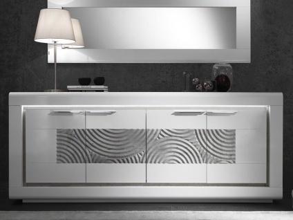 Sideboard mit LED-Beleuchtung LUISANCE - 4 Türen - Weiß lackiert & Beton-Optik