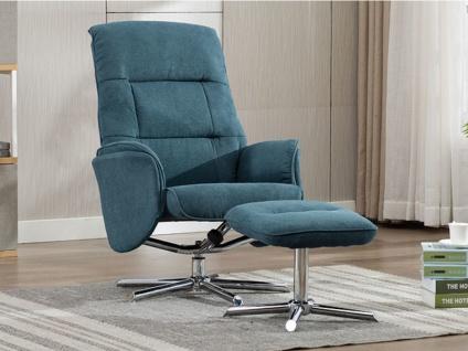 Relaxsessel Fernsehsessel mit Fußhocker KRIDO - Stoff - Blau