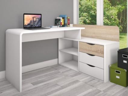 Eckschreibtisch DECLAN - 3 Schubladen - Weiß/Eichenholzfarben