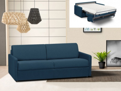 Schlafsofa 4-Sitzer Stoff CALIFE - Marineblau - Liegefläche: 160 cm - Matratzenhöhe: 18cm