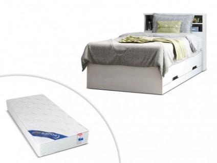 Set Bett mit Bettkasten BORIS + Lattenrost + Matratze - 90x190cm