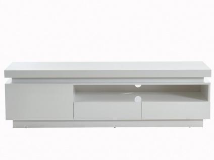 TV-Möbel mit LED-Beleuchtung EMERSON - 1 Tür & 2 Schubladen - Holz (MDF) - Weiß - Vorschau 4