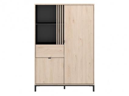 Vitrinenschrank RISLANE - 2 Türen, 1 Schublade & 2 Ablagen - Eiche & Schwarz - Vorschau 4