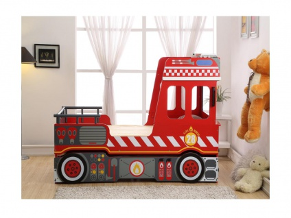 Kinderbett Spielbett FEUERWEHR + Lattenrost - 2x90x190 cm
