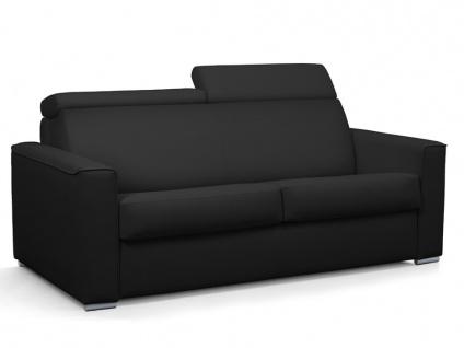 Schlafsofa 3-Sitzer VIZIR II - Kunstleder - Schwarz - Liegefläche: 140 cm - Matratzenhöhe: 14 cm