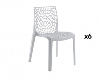 Stuhl 6er-Sets Diadem - Kunststoff - Weiß - Vorschau 1