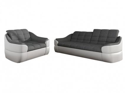 Couchgarnitur Stoff 3+1 Farez - Weiß&Grau