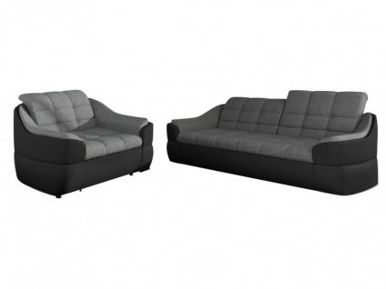 Couchgarnitur Stoff 3+1 Farez - Schwarz&Grau