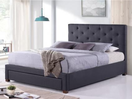 Bett mit Stauraum & Kopfteil Stoff AGOSTINO - 140x190 cm