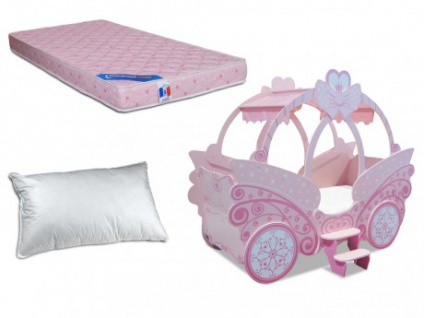 Sparset Kinderzimmer: Kinderbett PRINZESSIN + Lattenrost + Matratze + Kopfkissen