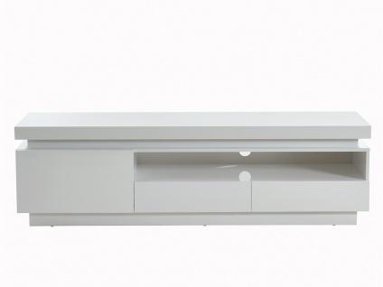 TV-Möbel mit LED-Beleuchtung EMERSON - 1 Tür & 2 Schubladen - Holz (MDF) - Weiß - Vorschau 5