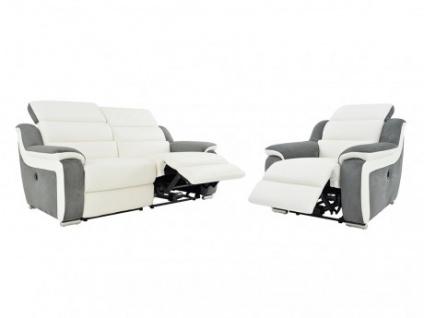 Relaxgarnitur 3+1 Leder Microfaser Incliner elektrisch Arena II - Weiß/Grau