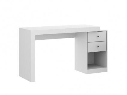 Schreibtisch ausziehbar EVAN - 2 Schubladen & 1 Ablage - Weiß