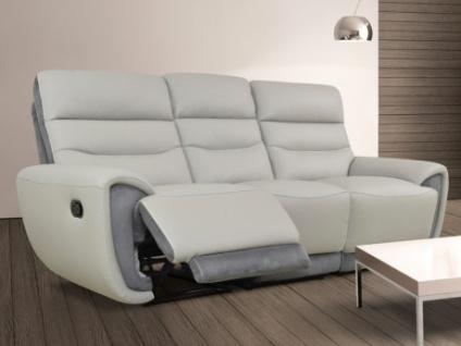 Relaxsofa Leder mit Microfaserdetails 3-Sitzer COSMY - Hellgrau/Anthrazit