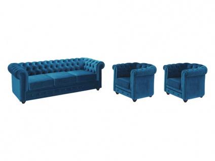 Couchgarnitur 3+1+1 Samt Chesterfield ANNA - Grünblau