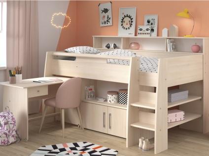 PARISOT Hochbett mit Schreibtisch & Stauraum APOLINE - 90x200cm