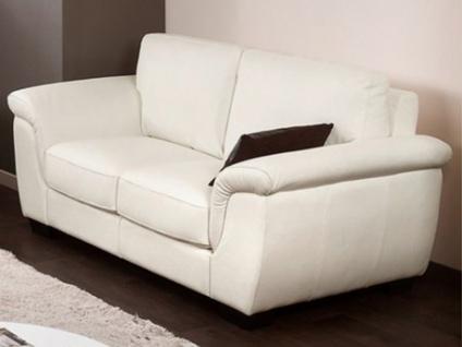 Ledersofa 2-Sitzer Salerne - Luxusleder - Elfenbein