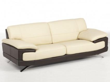 Ledersofa 3-Sitzer Emotion - Luxusleder - Zweifarbig: Elfenbein-Braun