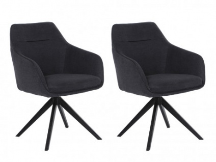 Stuhl mit Armlehnen 2er-Set Stoff MUSE - Drehbar