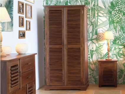 Kleiderschrank Holz massiv Bali II - 2 Türen