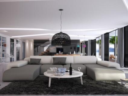 XXL Wohnlandschaft U-Form Sicile - Grau & Weiß