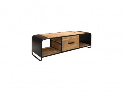 TV-Möbel CHICAGO - 1 Schublade & 2 Ablagen - Akazie & Metall