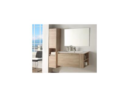 Komplettbad BEHATI - Holzoptik/Weiß