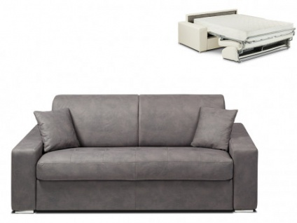 Schlafsofa 2-Sitzer Stoff EMIR - Grau - Liegefläche: 120cm - Matratzenhöhe: 22cm