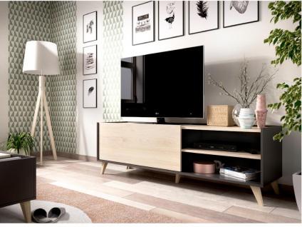 TV-Möbel KOLYMA - 1 Tür & 2 Ablagen - Eiche & Anthrazit - Vorschau 4