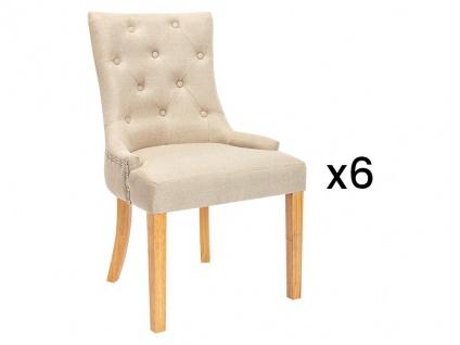 Stuhl 6er-Set JOLIA - Stoff & Holz - Beige