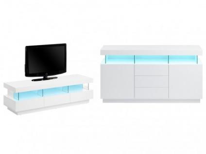 Sparset Fabio: Sideboard + TV-Möbel (2-tlg.) - Weiß