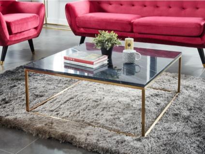 Couchtisch Design Marmor & Metall ARETHA - Gold/Schwarz