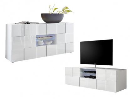 Sparset CALISTO: TV-Möbel + Sideboard - Weiß