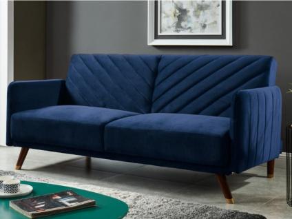 Schlafsofa Klappsofa 3-Sitzer JORIS - Samt - Blau